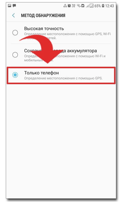 Метод обнаружения - Только телефон